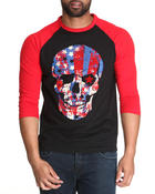 Buyers Picks - Patriotic Skull 3/4 Raglan Sleeve Shirt (S-4x)