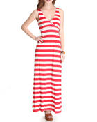 Fashion Lab - Belize Stripe Maxi dress w/ruched waist