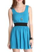 Fashion Lab Women Molly Skater Dress W/Zipper Blue Large
