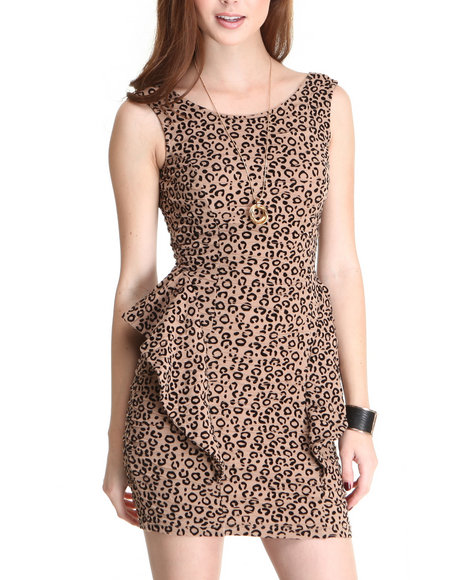 Fashion Lab Women Animal Print Sleeveless Dress W/Peplum Side Detail