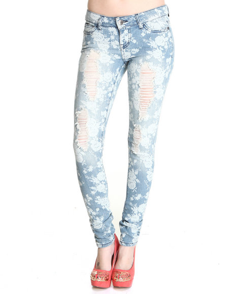 Celebrity Pink Women Medium Wash Garden Skinny Jean Printed Pants