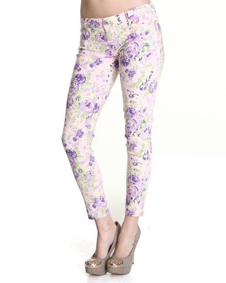 Celebrity Pink Women Light Pink Floral Blast Ankle Skinny Jean Pant
