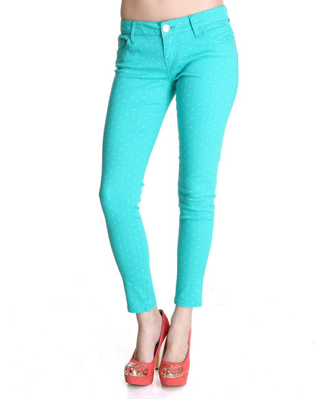 Celebrity Pink Women Teal Polka Dot Skinny Jean