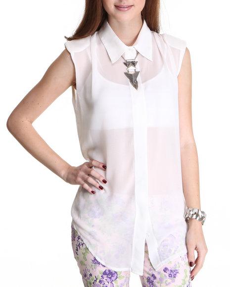 Fashion Lab White Sleeveless Chiffon Tunic Top