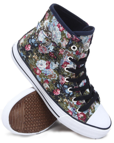 Apple Bottoms Women Blue Blueberry Floral Sneaker