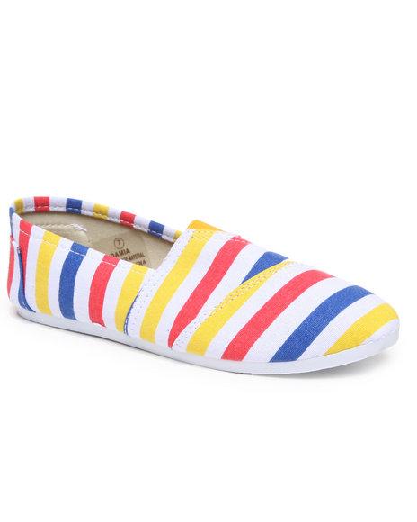 Apple Bottoms Women Multi,White Damia Stripe Canvas Sneaker