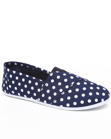 Apple Bottoms Women Navy,White Dots Canvas Sneaker