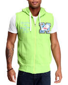 Vests - French Terry Hoody Vest w/ Patch Detail