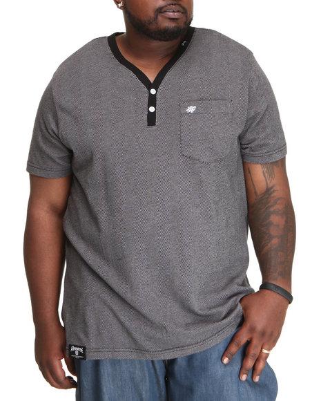 LRG Men Black Good Breed Y-Neck Short Sleeve Henley (B&T)
