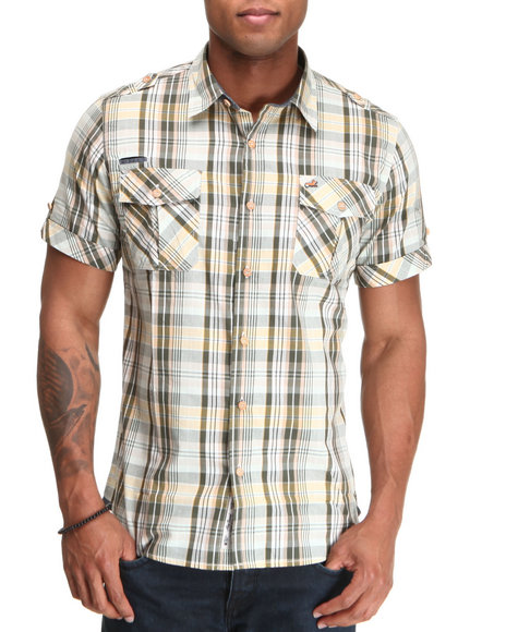 AKOO Khaki Rushed S/S Button-Down