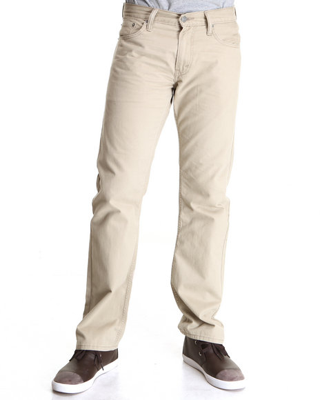 Levi's Khaki 514 Slim Straight Fit Chinchilla Soft Washed Twill Pants