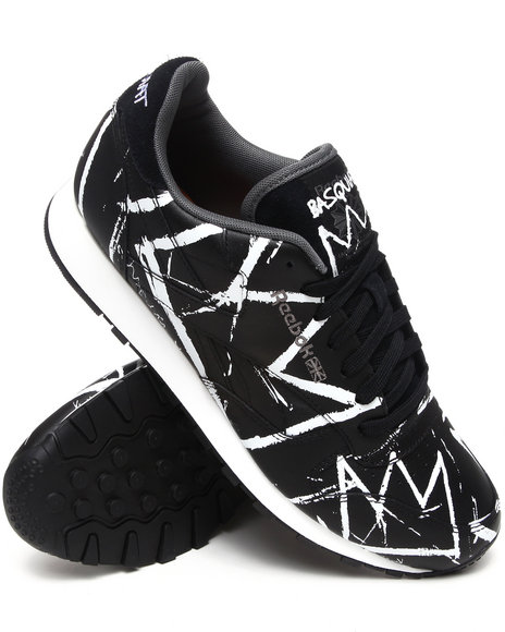 Reebok Men Black Basquiat : Curated By Swizz Beatz Classic Leather Lux Sneakers
