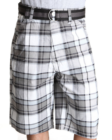 Enyce Men White Thrasher Plaid Short