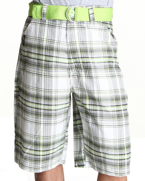 Enyce Men Green Voyage Plaid Short
