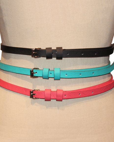 Rampage Black,Blue,Orange Double Keeper Solid Trio Belt Set