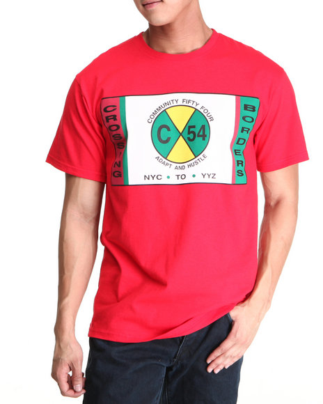 Community 54 Presents - Men Red Crossing Borders S/S Tee - $16.99