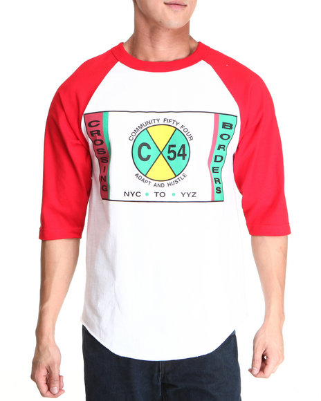 Community 54 Presents Red,White Crossing Borders Raglan Tee