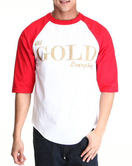 Community 54 Presents - Men Red All Gold Everything Raglan Tee - $16.99