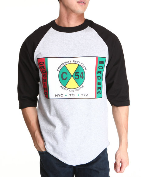 Community 54 Presents Black,Grey Crossing Borders Raglan Tee