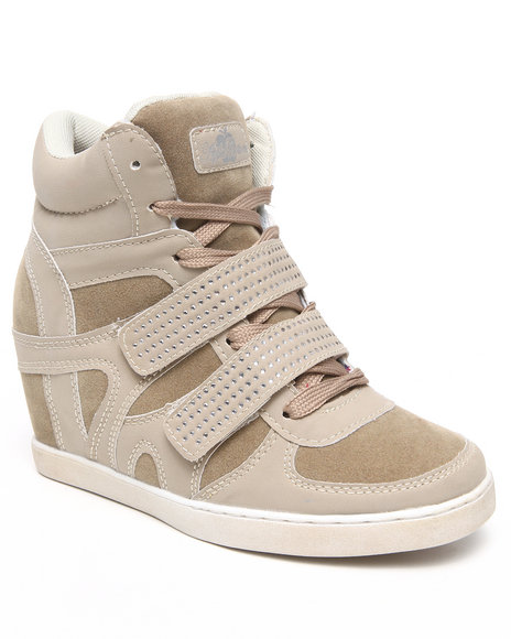 Apple Bottoms - Women Beige Gavin Bling Strap Wedge Sneaker