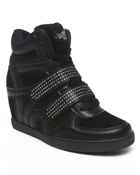 Apple Bottoms Women Black Gavin Bling Strap Wedge Sneaker