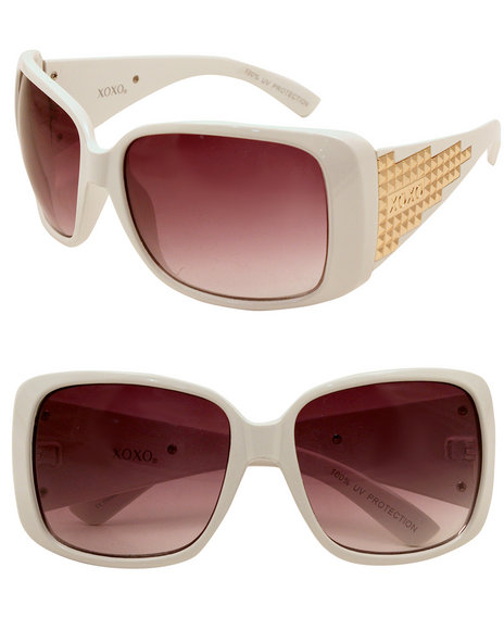 Xoxo Women Grommet Trimmed Sunglasses White