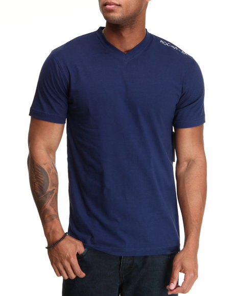 Rocawear Men Dark Blue Basic V-Neck S/S Tee