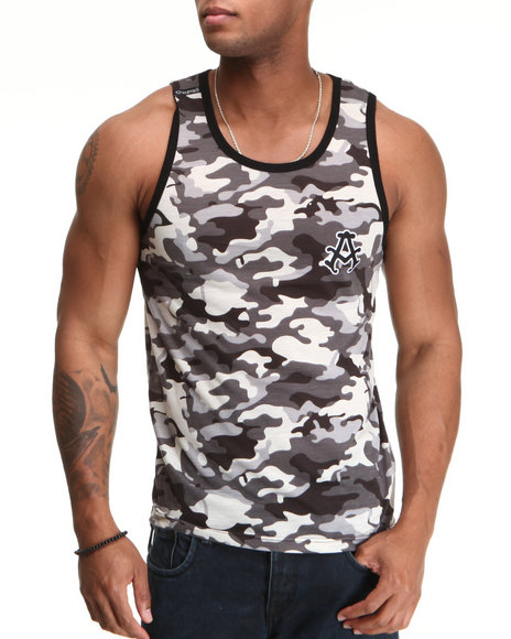 Akademiks Men Black,Camo Block Ops Tank Top
