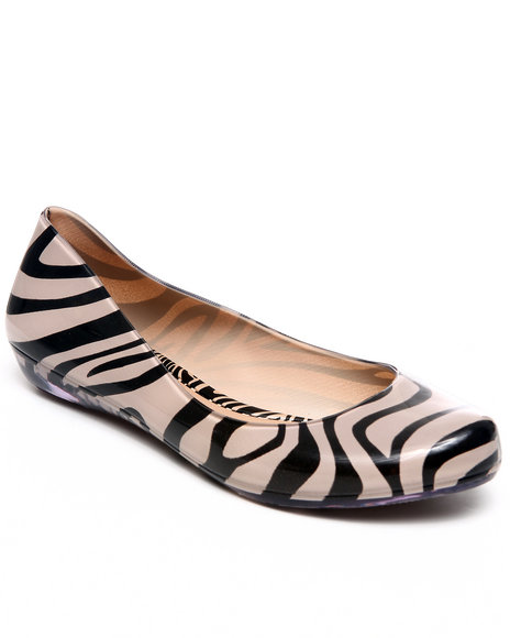 Mel Women Beige Mel Strawberry Animal Print Flats