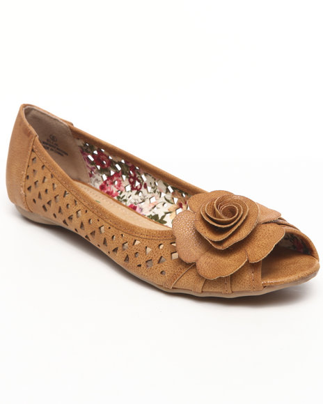 Fashion Lab - Women Tan Elle Perforated Flats