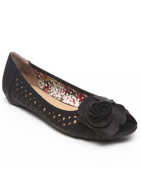 Fashion Lab - Women Black Elle Perforated Flats