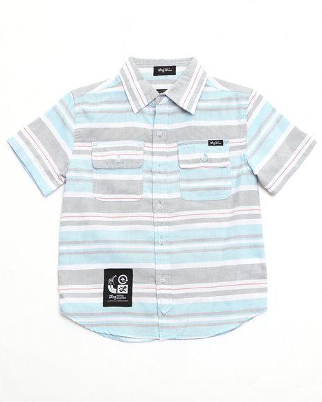LRG Boys Light Blue Homesteader Stripe Woven (4-7)