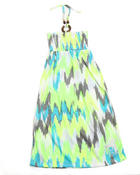 Dresses - Neon Ikat Maxi Dress (4-6X)