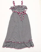 Girls - Striped Ruffle Maxi Dress (4-6X)