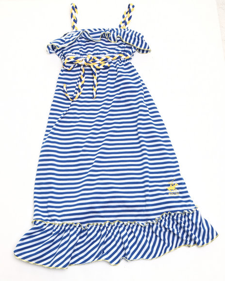 La Galleria Girls Blue Striped Ruffle Maxi Dress (7-16)