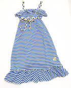 Dresses - Striped Ruffle Maxi Dress (7-16)