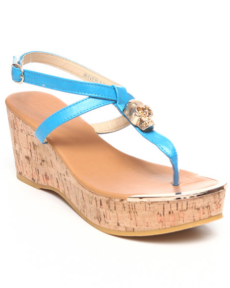 Fashion Lab - Women Blue Waverly Skull Hit Wedge