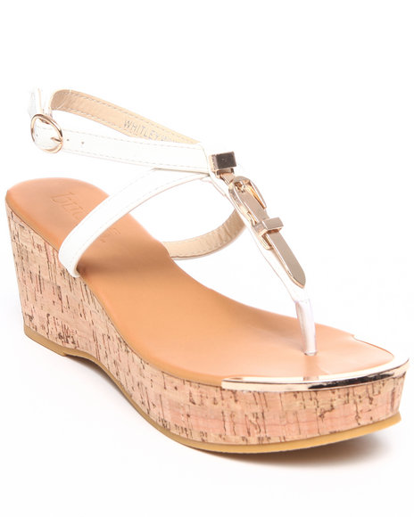 Fashion Lab - Women White Whitley Wedge Sandal