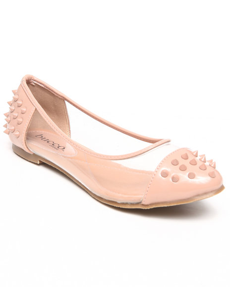 Fashion Lab - Women Tan Frostine Spike Flats