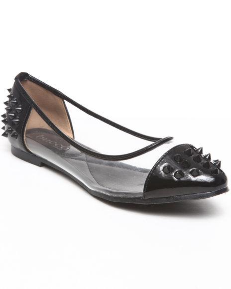Fashion Lab - Women Black Frostine Spike Flats