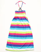 Dresses - ROUCHED STRIPED HALTER DRESS (4-6X)