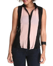 Fashion Lab - Sleeveless Crystal Pleated Top