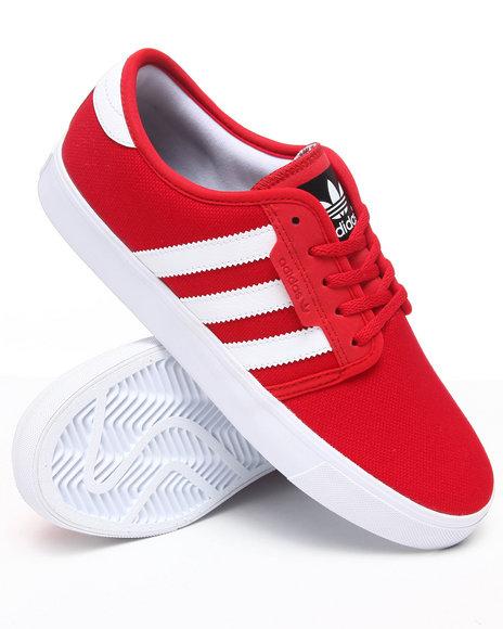 Adidas Men Red Seeley Denim Skate Sneakers
