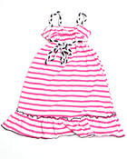 Dresses - STRIPED DRAWSTRING DRESS (2T-4T)