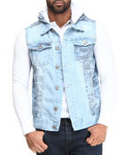 Vests - Camo Denim Vest with Hoodie
