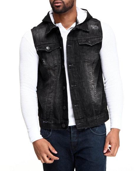 Basic Essentials Black Camo Denim Vest With Hoodie