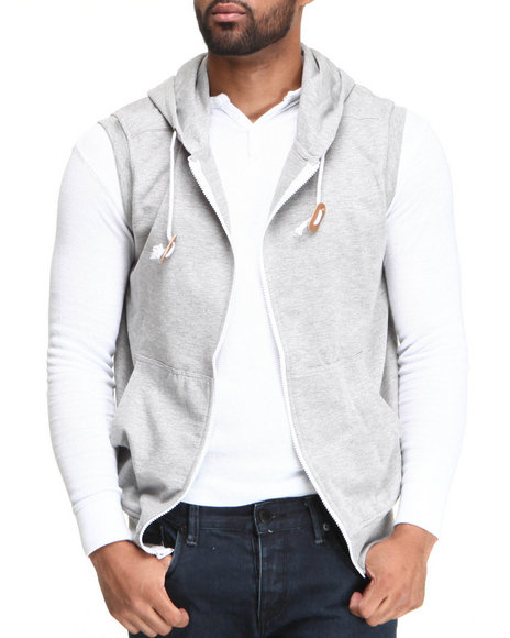 Buyers Picks Men Grey Solid French Terry Zip Hoodie Vest