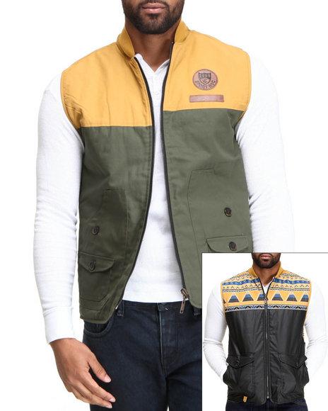 Rocawear Men Black,Green Diamond Tribe Reversible Vest