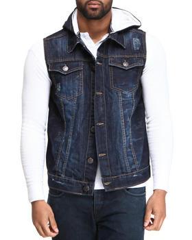 Basic Essentials - Camo Denim Vest with Hoodie
