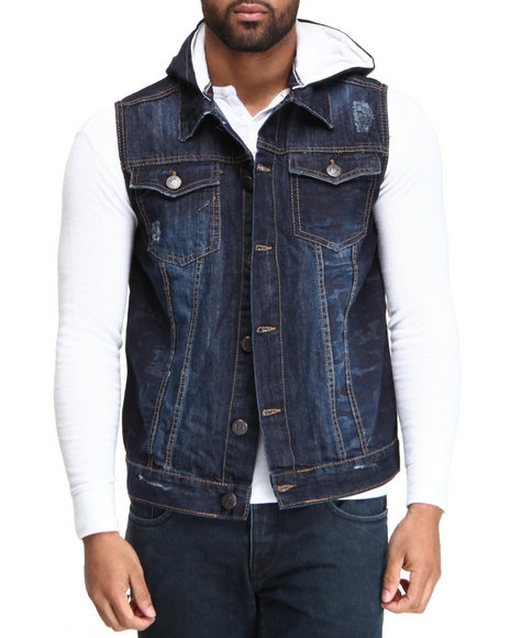 Basic Essentials Indigo Camo Denim Vest With Hoodie